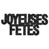 """Confettis pailletés Joyeuses Fêtes"""" noirs  (x6)"""""""