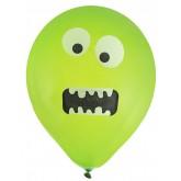 Ballons monstres rigolos vert fluo (x8)