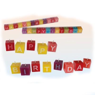 Set de bougies carrées Happy Birthday