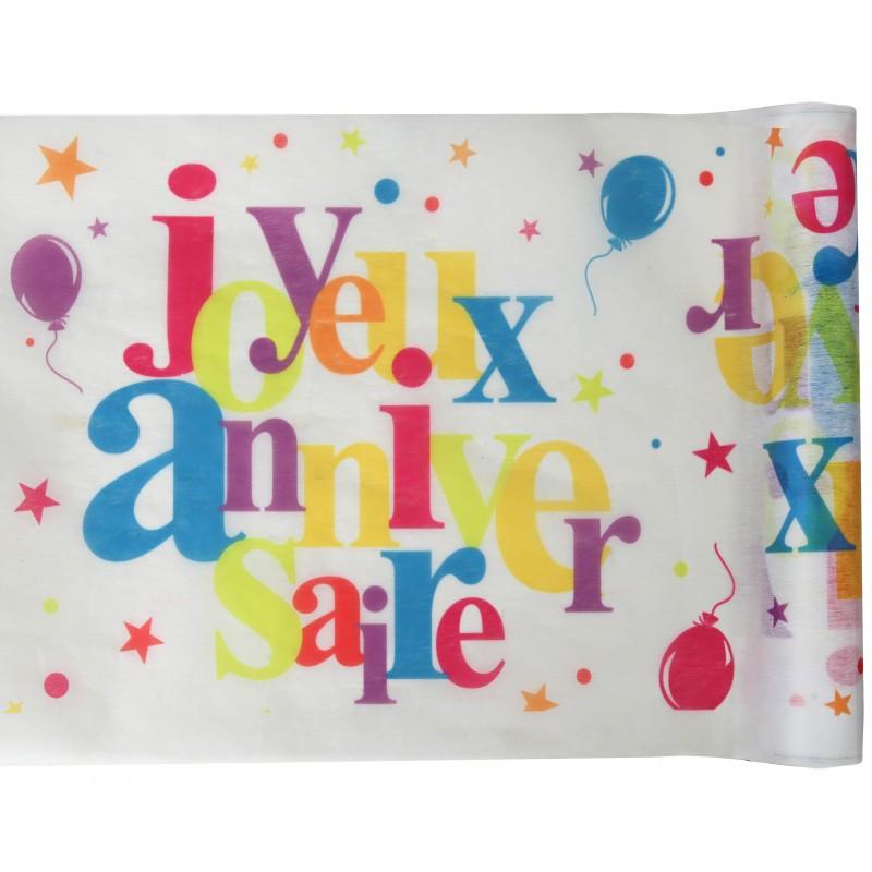 Chemin de table joyeux anniversaire multicolore - Set de table multicolore ...