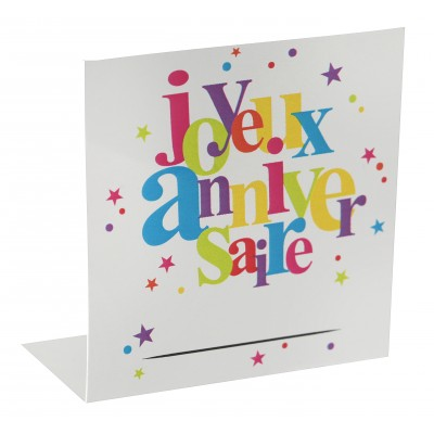 marque place joyeux anniversaire multicolore x 10. Black Bedroom Furniture Sets. Home Design Ideas