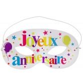 Masque  Joyeux Anniversaire multicolore x 10