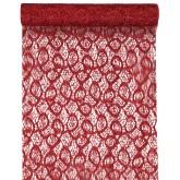 Chemin de table dentelle métallique Rouge