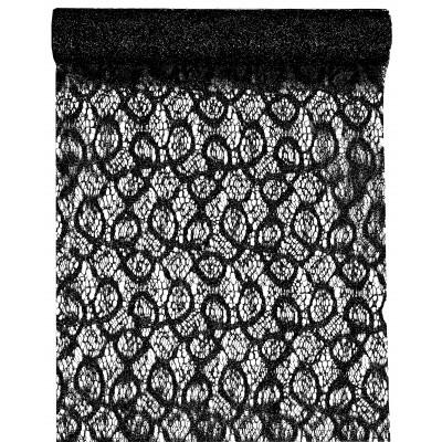 Chemin de table dentelle métallique Noir