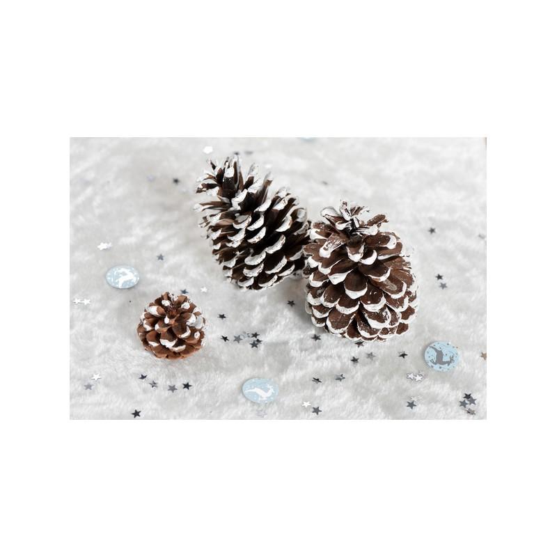 Grande pomme de pin avec effet neige x 4 - Pomme de pin deco ...