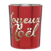 Photophore Rouge Joyeux Noël en verre