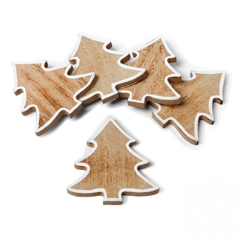 5 sapins marque places en bois 6 cm - Decoration en bois pour sapin de noel ...
