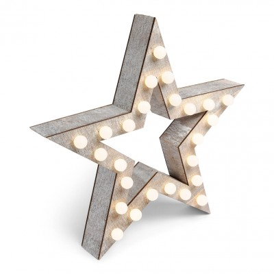 Etoile lumineuse LED en bois 38 cm