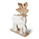 Cerf bois avec fourrure blanche 14.5x24.5cm