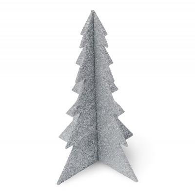 Sapin pailleté argenté 19x12 cm à assembler