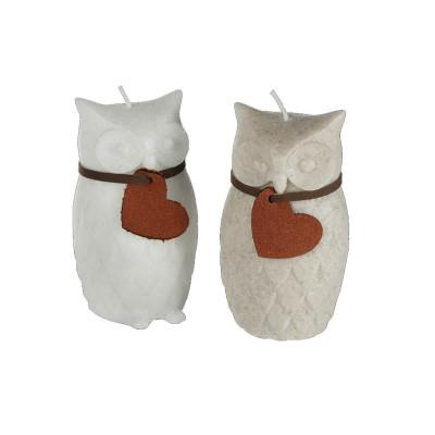 Bougies couple de hibou et chouette avec pendentif coeur