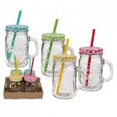 4 bocaux en verre avec anse, couvercle et paille
