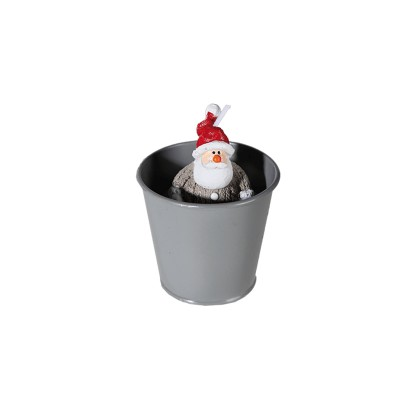 Bougie Pere noel dans pot en métal