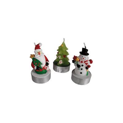 Set de 3 bougies Père Noël ,Sapin et bonhomme de neige