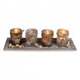 Coffret de 4 bougeoirs et perles en bois sur assiettes bois