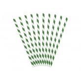 Pailles rayées de couleur verte (x 10)