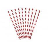 Pailles rayées de couleur rouge (x 10)