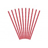 Pailles rouge à pois (x10)