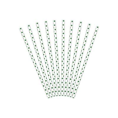 Pailles blanches à pois verts (x10)