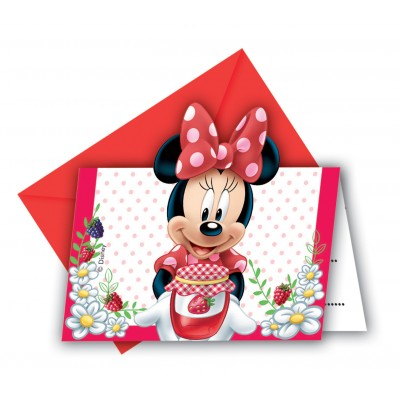6 cartes invitations Minnie + enveloppes rouges