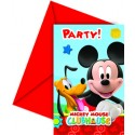 6 cartes d'invitations Mickey + enveloppes rouges