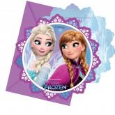 6 cartes d'invitations Reine des neiges + enveloppes