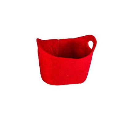 Panier en feutrine rouge