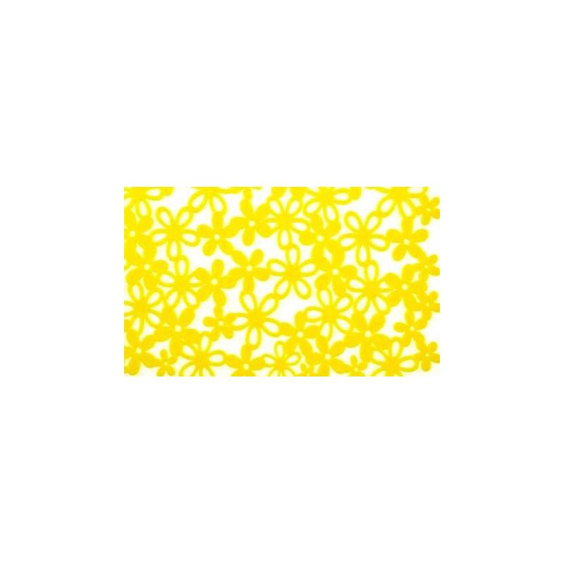 Chemin de table fleurs en feutrine jaune for Chemin de table jaune