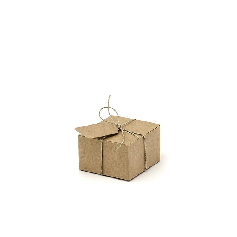 boite cadeau invit en kraft avec tiquettes x 10. Black Bedroom Furniture Sets. Home Design Ideas