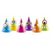 """Chapeaux pointus """"Petits Monstres"""" multicolores x 6"""