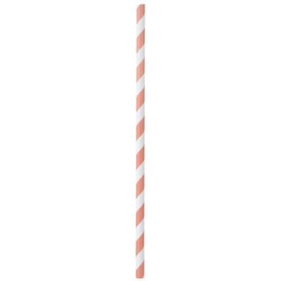 Pailles rayées de couleur Corail (x20)