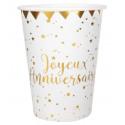 Gobelet Joyeux Anniversaire Blanc et Or (x10)