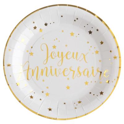 Assiettes Joyeux Anniversaire Blanc et Or (x10)