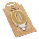 Bougie Chiffre 0 dorée - 7.3 cm