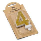 Bougie Chiffre 4 dorée - 7.3 cm