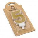Bougie Chiffre 5 dorée - 7.3 cm