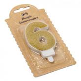 Bougie Chiffre 6 dorée - 7.3 cm