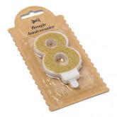 Bougie Chiffre 8 dorée - 7.3 cm