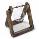 Porte fiole en bois et verre