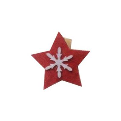 Pinces Etoile en feutrine (x4) Rouge