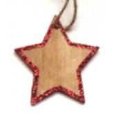 Etoile en bois à suspendre (x4) pailletée rouge