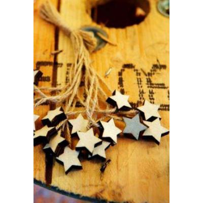 Mini étoiles en bois avec ficelle en jute (x6) Naturel