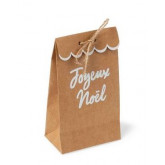 8 sachets feston kraft joyeux noel paillettes or