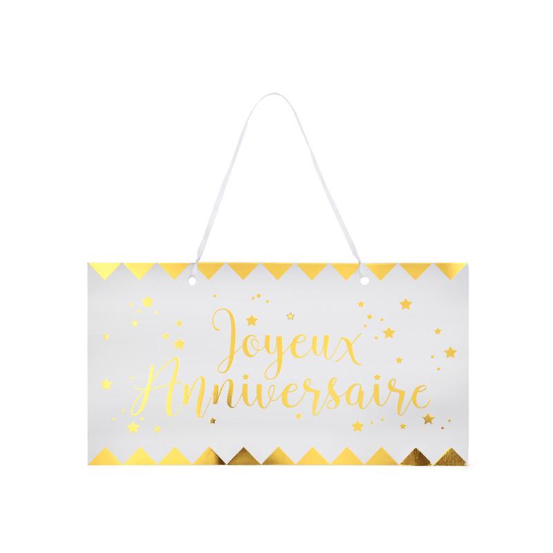 Pancarte Joyeux Anniversaire Metallise Blanc Et Or Maplusbelledeco Com