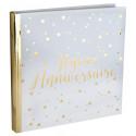 Livre d'or Joyeux Anniversaire métallisé blanc et or