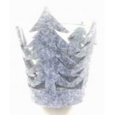 Bougeoir sapin feutrine gris 7 cm