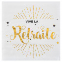 Serviettes or et blanc Vive la retraite x10