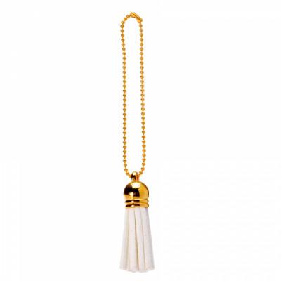Floches blanches et chainettes dorées x 6