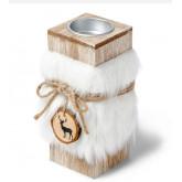 Bougeoir en bois et sa fourrure blanche