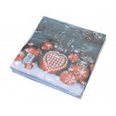 Serviettes en papier Boules de Noël x 20
